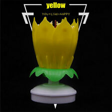 Musical Lotus Flower Rotating Happy Birthday Party Candle Cake Light Lamp Decor*