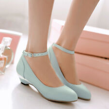 Women Mary Jane Shoes Low Heel Ankle Strap Pumps Buckle Casual Round Toe Sandals