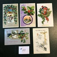5 - VINTAGE EMBOSSED CHRISTMAS HOLIDAY POST CARDS EARLY 1900'S GERMANY, LOT #10