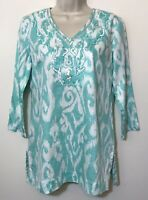 "Brooks Brothers ""346"" Tunic Top Size Small Green White 3/4 Sleeve Beaded V-Neck"
