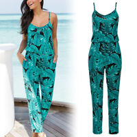 Women Strappy Jumpsuits Floral Print Long Rompers Summer Beach Fashion Playsuit