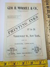 Old 1896 Ad Advertising Geo Morrill Printing Inks New York NY Boston Chicago