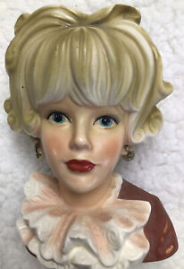Vintage Lady Head Vase Relpo Japan K1817 Ruffled Blouse Pearls Blonde