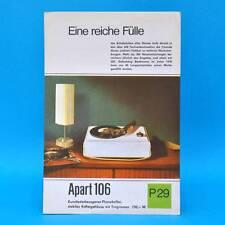 Apart 106 Phonokoffer DDR 1969   Prospekt Werbung Werbeblatt DEWAG P29 B