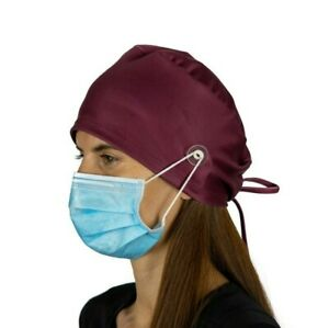 Wine Surgical Cap Women with Buttons I Nurse Cap I Scrub Cap