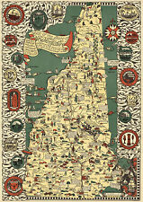 1921 Pictorial Map New Hampshire Vintage History Wall Art Poster Print Decor