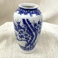 Vintage Cinese Blu e Bianco Vaso Allegro Fiori Cina Ceramica