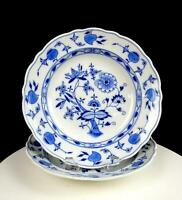 "CARL TEICHERT MEISSEN ANTIQUE 2PC BLUE ONION 10"" SHALLOW SOUP BOWLS 1882-1929"