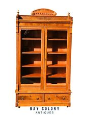19TH C ANTIQUE VICTORIAN WALNUT DOUBLE DOOR BOOKCASE / RIFLE CABINET