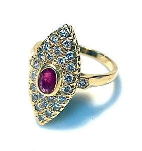Magnificent Ring Marquise Gold 18 Gold - Ruby And Diamonds 0.84 Carat - 4.72 G