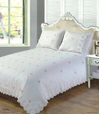Rapport Sophie Pink Rose Embroidered Lace Duvet Cover Bedding Set White Or Cream