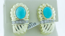 Natural Turquoise 14K Yellow Gold Earrings Natural H Color Diamond Antique