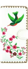 LAVISHY HUMMINGBIRD EMBROIDER LARGE WALLET VEGAN FAUX LEATHER NEW (97-191Whit)