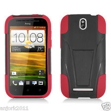 HTC One SV Cricket Boost Y Armor Hybrid Case Skin Cover w/ Stand Black Red