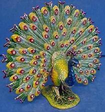 More details for juliana treasured trinkets peacock bird displaying tail metal trinket box 14961
