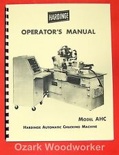 Hardinge Ahc Chucking Machine Operator Manual 0328