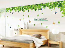 Large Green Leaf Colorful Butterflies Wall Stickers Mural Decal Home Room Decor