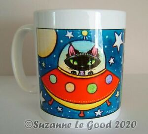 Devon Rex cat art ceramic mug original design from painting by Suzanne Le Good