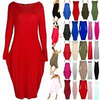 Women Midi Dress Ladies Peplum Frill Strappy Lagenlook Italian Drape Baggy Dress