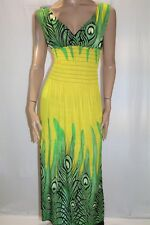 Unbranded Green Yellow Peacock Print Sleeveless Maxi Dress Size M BNWT #LIN