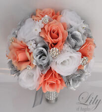 17Piece Package Silk Flower Wedding Bridal Bouquet Decoration CORAL SILVER WHITE