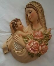 VTG Large Virgin Mary Jesus Christ Chalkware Sculpture Wall Hanging Pink Roses