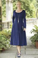 Travelsmith Size XL Blue Indispensable Long Sleeve Scoopneck Dress Travel 635507