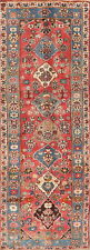 Vintage Traditional Floral 9 ft Red Runner Kashaan Hand-Knotted Wool Rug 3'x9'