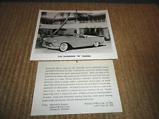 1954 OLDSMOBILE STARFIRE CONVERTIBLE PRESS RELEASE PHOTO W/PRESS SHEET ORIGINAL