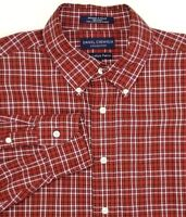 Daniel Cremieux Shirt Mens Size L Large Red White Black Plaid Italian Cotton