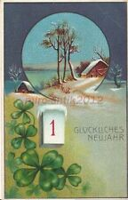 AK, Grafik, Neujahrskarte - verschneite Landschaft, 1912; 5026-76