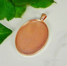 40x30 Oval Rose Gold Plated Cabochon (Cab) Pendant Setting (#B3-10)