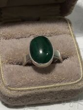 Vintage CARLOS DIAZ Oval Malachite 925 Sterling Silver Ring Sz7-7.25 - 6.4g