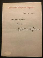 KATHARINE HEPBURN SIGNED LETTER ON PERSONAL LETTERHEAD JSA AUTHENTICATED