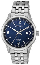 Citizen Quartz Men's Blue Dial Silver Tone Bracelet 40mm Wrist Watch BI1050-81L