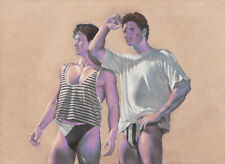 "ORIGINAL Nude Male Gay Interest Art Colored Pencil Drawing ""Looking"""