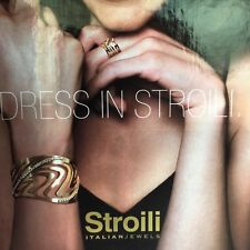 "Stroili italian fashion jewelry White Metal Cryst cuff bracelet 7""adjustable"