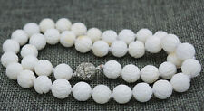 """NEW 10mm white Carving coral Tridacna Necklace 18 """"magnet buckle AAAAA"""