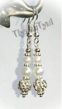 Shamballa & Pearl Earrings.. Short Dangle..Silver Plated