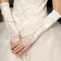 Bridal Gloves Fingerless Embroidery Lace Elbow Length Gloves Wedding Accessory