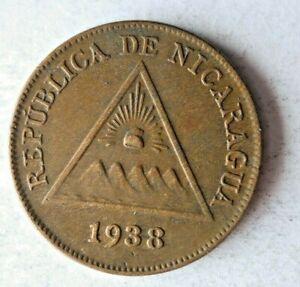 1938 NICARAGUA CENTAVO - AU - Excellent Low Mintage Coin - lot #S24