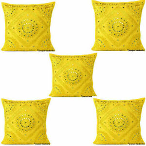 BEAUTIFUL SET OF 5 16 X 16 INCH MIRROR YELLOW CUSHION COVER ETHNIC COTTON PILLOW