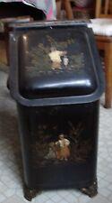 Victorian Sheppard Co 1872 Oriental Gilt Painted Ash Coal Scuttle Bucket Hearth