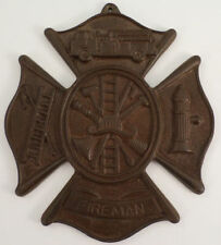 Fireman Cast Iron Fireman Plaque With Antique Patina