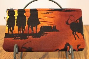ZIPPER POUCH CAMERA CASE COSMETIC JEWELRY HORSE COWBOY  FAUX LEATHER