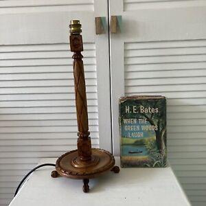 Vintage Handmade Wooden Lamp Base Carved PAT Tested Table Desk