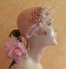 Grecian Garden Goddess Ethereal Pink & White Beaded Wreath Halo Bridal Headpiece