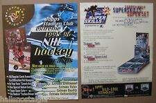 2 Hockey Trading Card Sell Sheets (no cards) 1996 Super Skills,1995 Stadium Club