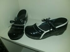 Koi by Sanita Black Leather Clog Mary Jane ribbon detail Women Shoe7/ 7.5M 38