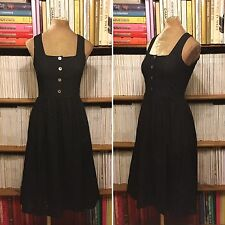 HELENE BERMAN broderie anglaise black cotton fit flare sun midi dress UK 8 US 4
